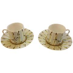 Hermès Les Matin de l'Etang Porcelain Set of Six Coffee Cups, France, Modern