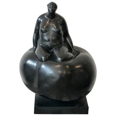 "Brutalist Blackened Bronze Female Sculpture Titled ""Cloud"" by Sharon Wandel"