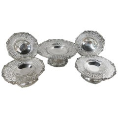 Set of Five Antique Sterling Silver Pierced Dishes