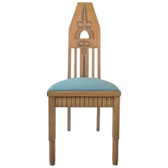 Manner of Eliel Saarinen, Set of Finnish Carved Oak Jugend Chairs, 6 Available