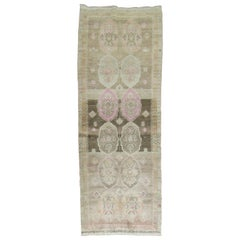 Vintage Turkish Oushak Runner with Pink Hues