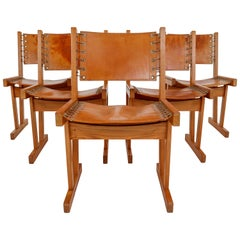 Midcentury Safari Chairs in Thick Cognac Saddle Leather and Solid Pine Wood
