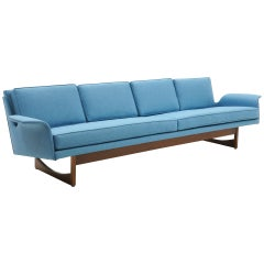 Four-Seat Sofa Possibly Danish Modern or Adrian Pearsall, Beautiful Blue Fabric