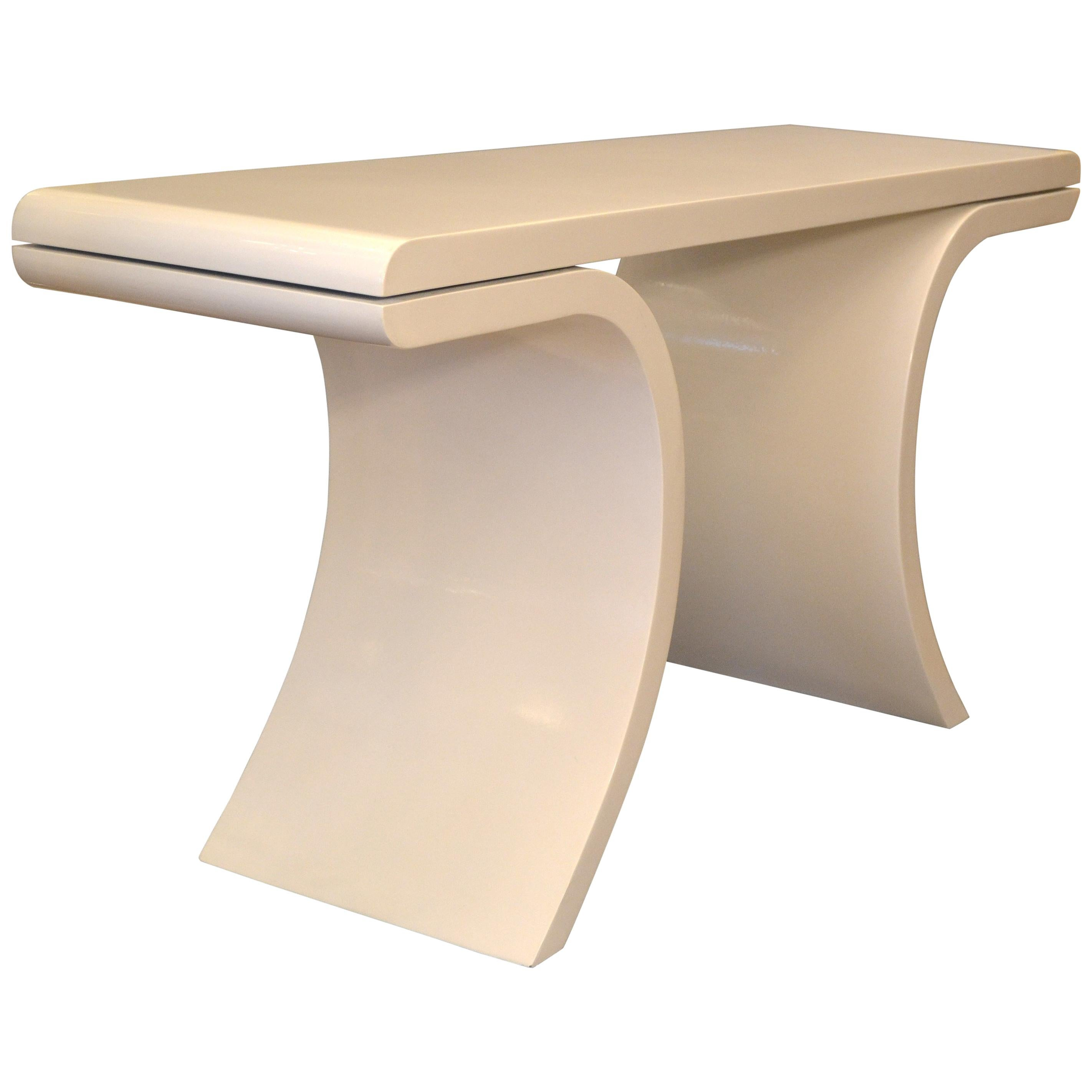Hollywood Regency White Lacquer Console Table With Curved Legs