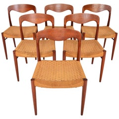 Set of Six Midcentury Møller Style Teak and Paper Cord Dining Chairs