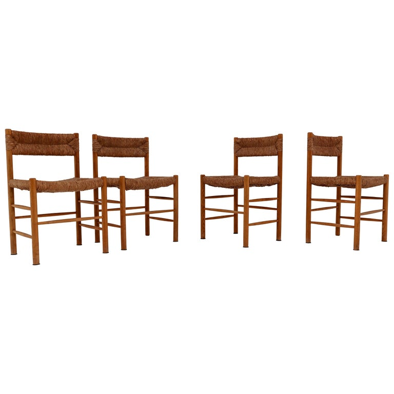 "Four ""Dordogne"" Chairs by Charlotte Perriand for Robert Sentou For Sale"