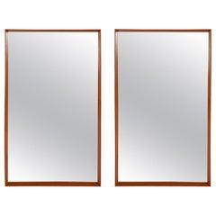 Pair of Mid-Century Modern Danish Teak Framed Wall Mirrors by Pedersen & Hansen