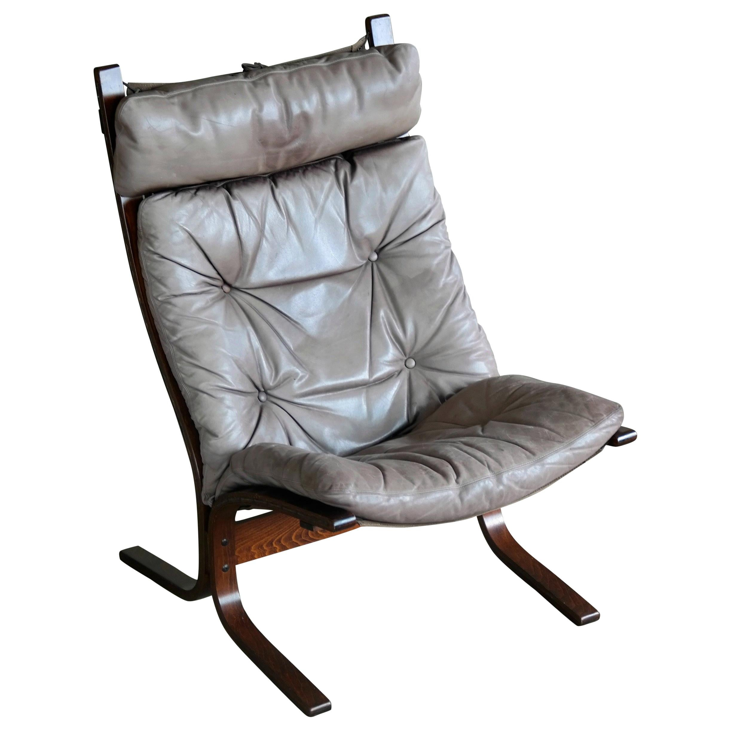 """1960s Leather Easy Chairs Model """"Siesta"""" by Ingmar Relling for Westnofa"""