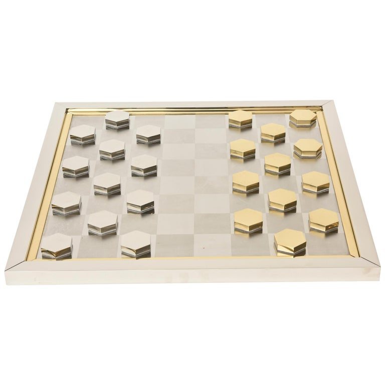 Romeo Rega Brass and Chrome Plated Checkers Game Italian Signed For Sale