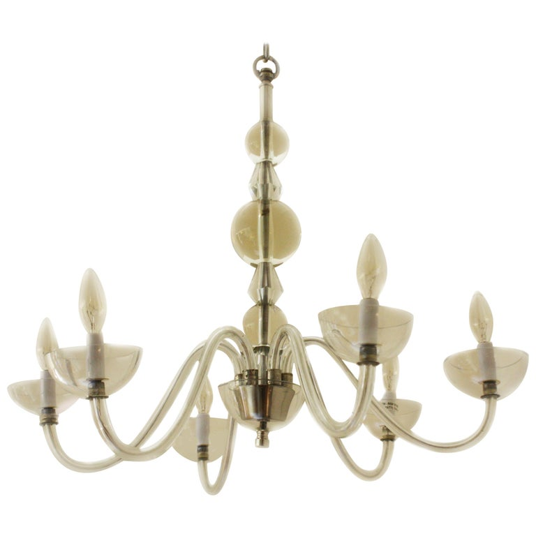French Chandelier in the Style of Jacques Adnet, circa 1940 For Sale