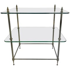 Two-Tiered Glass and Brass Side Table from France