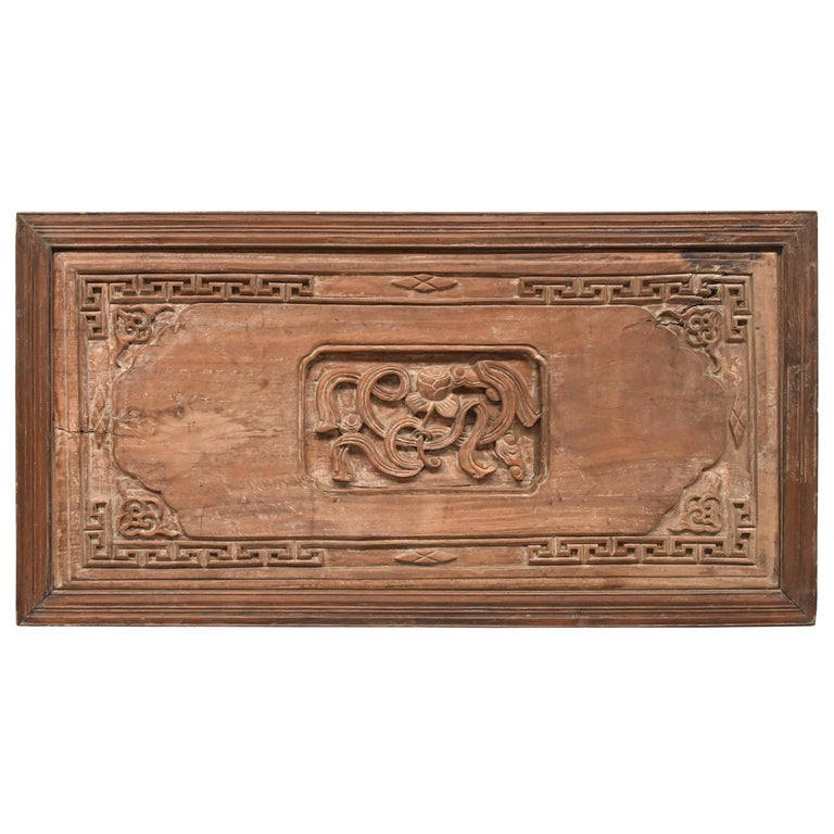 Chinese Antique Solid Wood Carved Plaque with a Rose For Sale