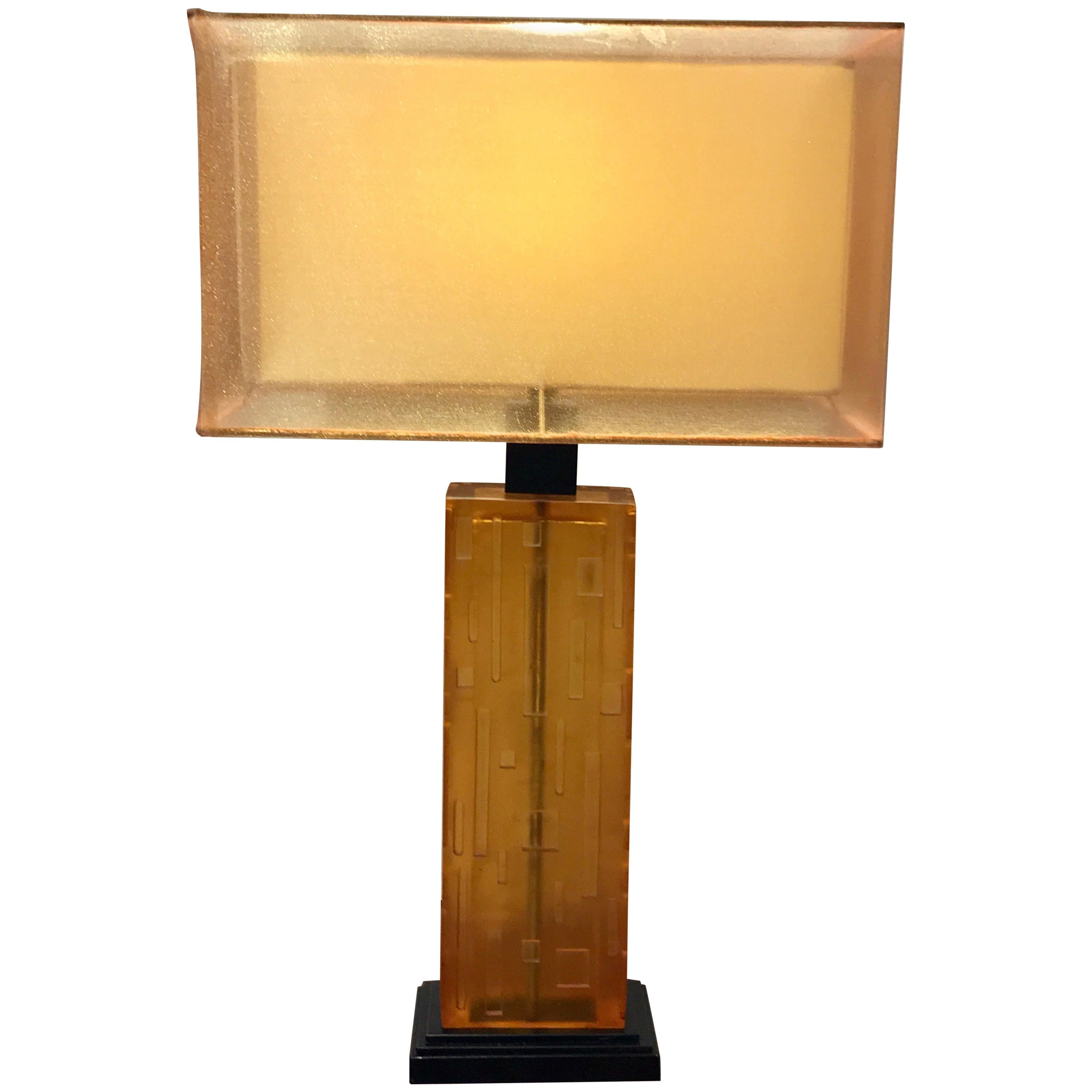 Pair of Cityscape Citrine Lucite Lamps with Custom Shades