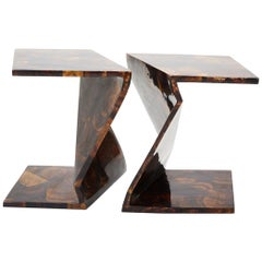 Zig Zag Side Tables or Coffee Table in Tessellated Young Pen Shell, 1990s