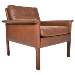 Hans Olsen Leather and Rosewood Lowback Lounge Chair