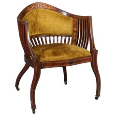 Antique Italian Neoclassical Satinwood Marquetry Inlaid Side Chair, circa 1890