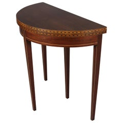 Antique Hepplewhite Style Inlaid and Banded Mahogany Game Table by Brandt