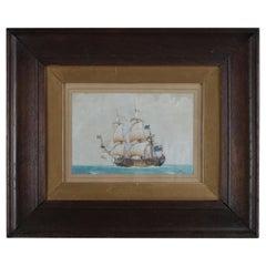 English Nautical Maritime Mixed-Media Painting of Schooner, Signed, circa 1890