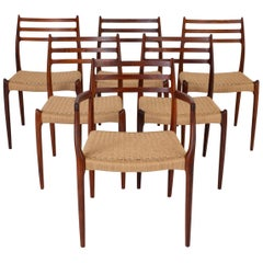 Set of Six Model 78 Rosewood Dining Chairs by N.O. Møller