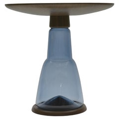 Donghia Beaker Round Pedestal End Table with Sapphire Glass Base and Wood Top