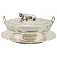 Sterling Silver Butter Dish and Cover, 1830s