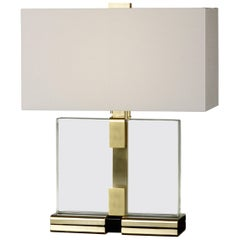 Donghia Clara Table Lamp and Shade, Clear Murano Glass with Satin Gold Base