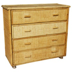 1980s Spanish Bamboo and Rattan Four Drawer Chest