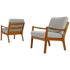 Pair of Danish Modern 1960s Teak Lounge Easy Chairs by Ole Wanscher, Denmark