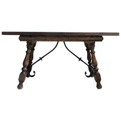 20th Century Spanish Console Fold Out Farm Table with Iron Stretcher