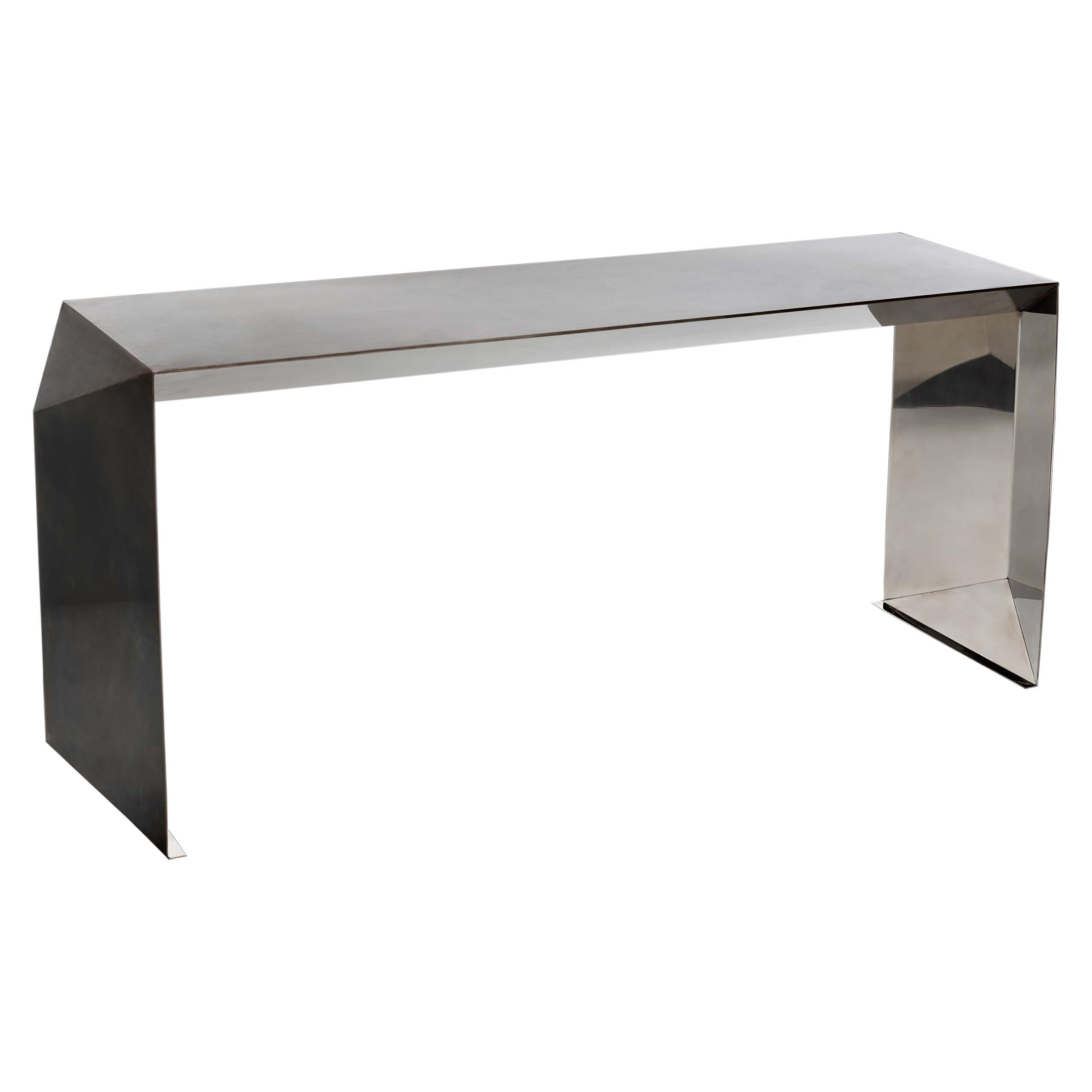 Donghia Origami Console Table In Stainless Steel And Polished Mirror Finish