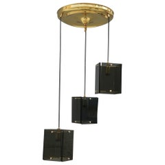 Mid-Century Modern Italian Chandelier Brass Crystal Grey Gold Glass Often