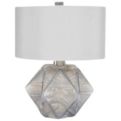 Donghia Prong Lamp and Shade, Venetian Glass in Blue Agate with Nickel Hardware