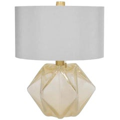 Donghia Prong Lamp and Shade, Venetian Glass in Gold Dust with Satin Finish