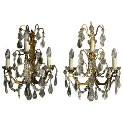 French Pair Of Gilded Bronze and Crystal Antique Wall Lights