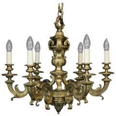 French Bronze six-Light Mazarin Antique Chandelier