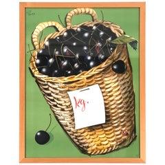 Vintage Swiss Supermarket Advertising Poster for Cherries