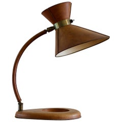 Leather Lamp in the Style of Jacques Adnet, France, 1950s