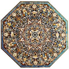 Octagonal Mosaic and Italian Pietra-Dura Hardstones Inlay Tabletop