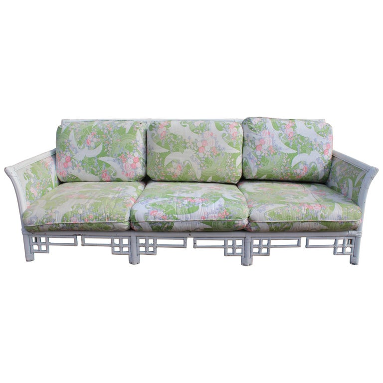 1980s Spanish Bamboo Three-Seat Sofa with Original Upholstery For Sale
