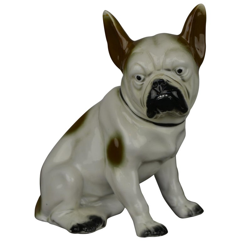 Art Deco Sitzendorf Porcelain French Bulldog Figurine For Sale