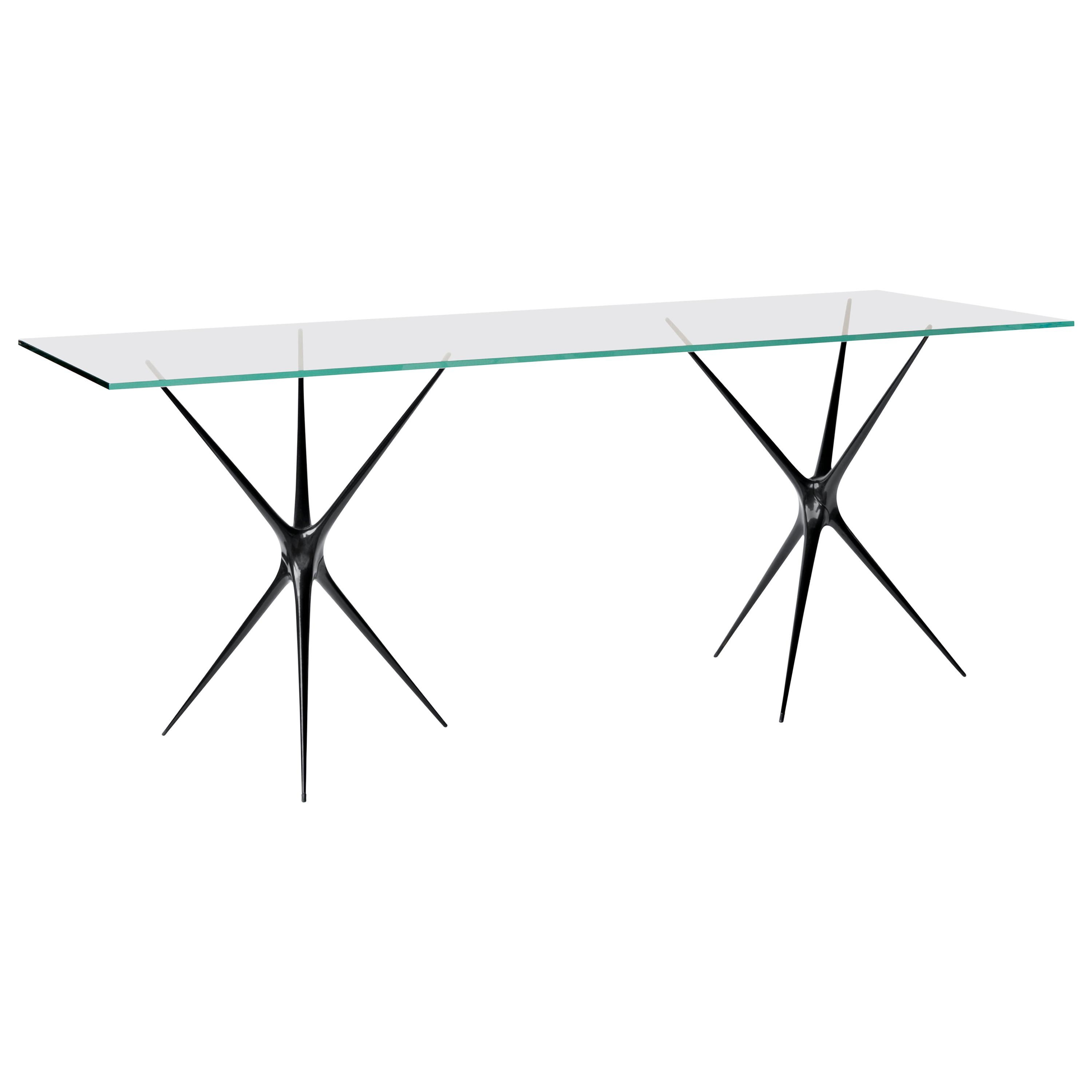 Supernova, Recycled Cast Aluminum Black Trestles & Glass Desk by Made in Ratio