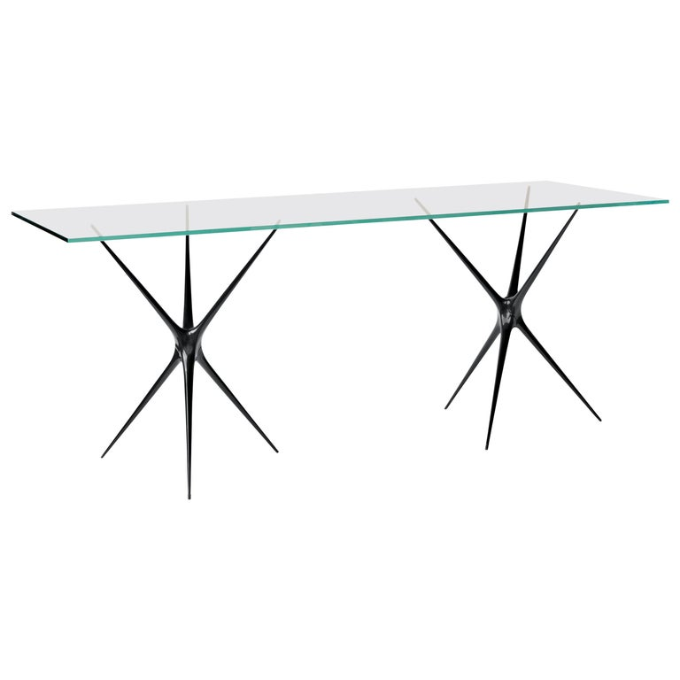 Supernova, Recycled Cast Aluminum Black Trestles & Glass Desk by Made in Ratio For Sale