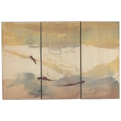 Large Triptych Oil on Fabric Painting