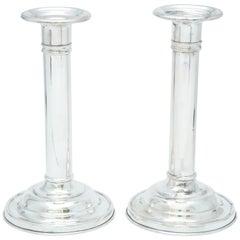 Edwardisches Paar Sterlingsilber Kerzenleuchter