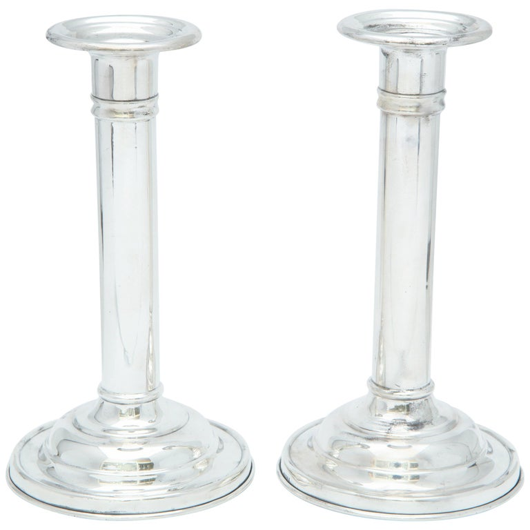 Edwardian Pair of Sterling Silver Candlesticks For Sale