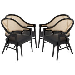Set of Four Contemporary Dining Chairs in Cane and Solid Wood