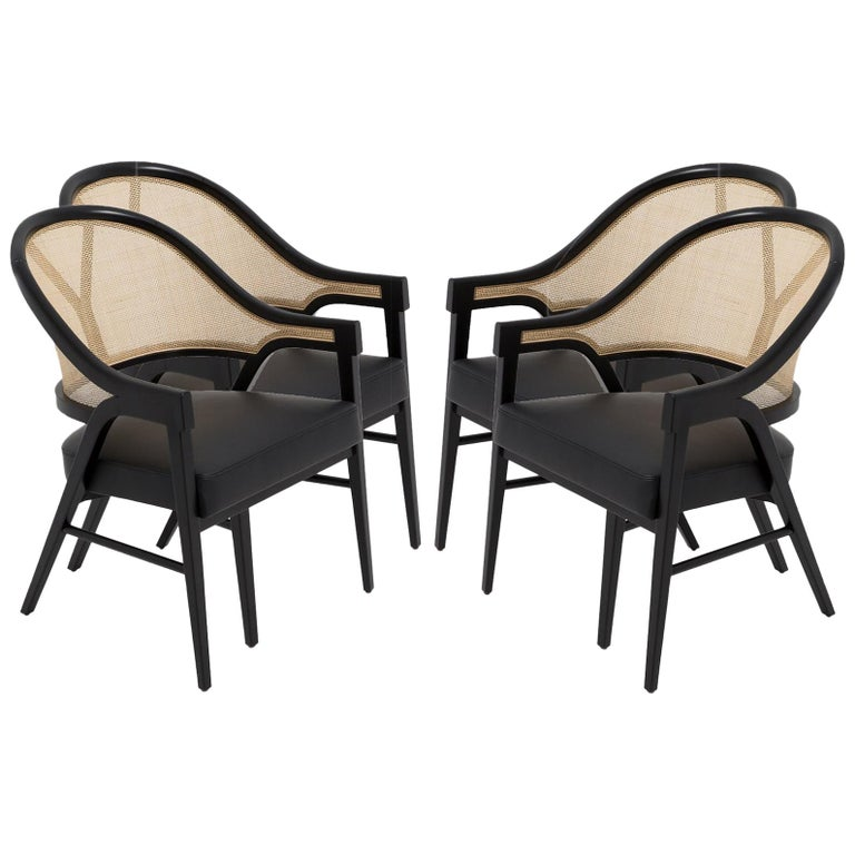 Set of Four Contemporary Dining Chairs in Cane and Solid Wood For Sale