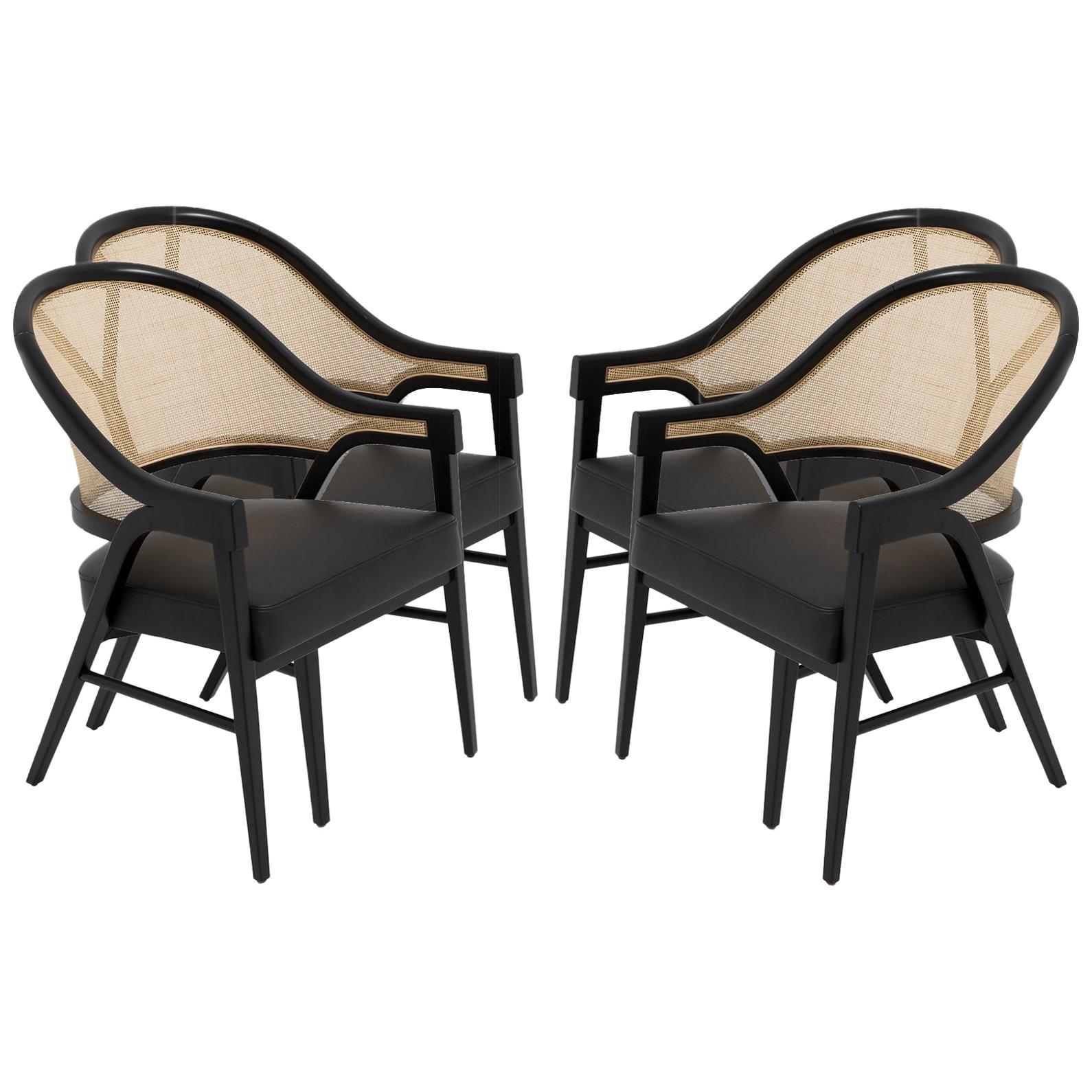 Ordinaire Set Of Four Contemporary Dining Chairs In Cane And Solid Wood For Sale