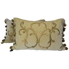 Gold Metallic Applique Cream Mohair Pillows, Pair