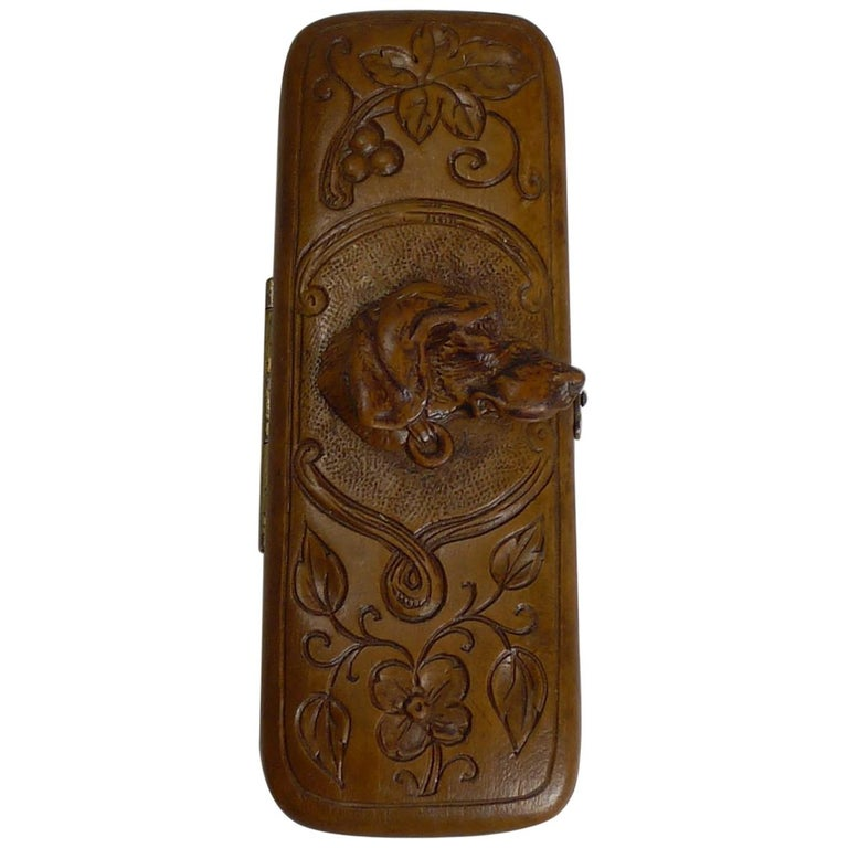 Rare Antique Black Forest Travel Thermometer Carved Dog, circa 1900 For Sale